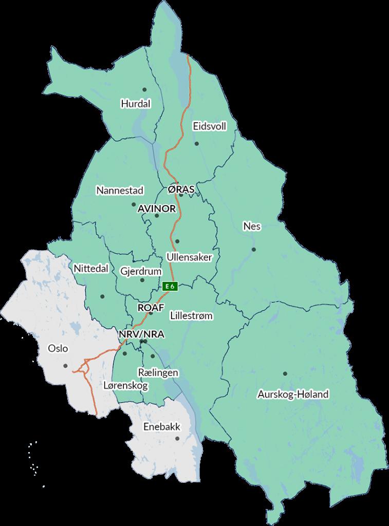 Kart over Romerike